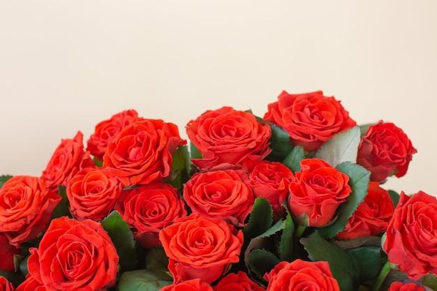 Lindo buquê de rosas vermelhas em fundo claro
