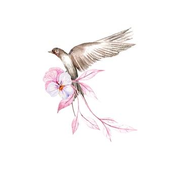 Lindo buquê em aquarela com diferentes flores e pássaros.