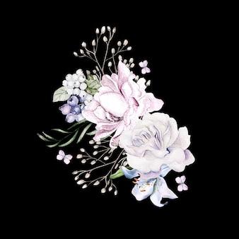 Lindo buquê em aquarela com flores de peônia de orquídeas