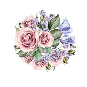 Lindo buquê em aquarela de flores, rosas, lilases, eustomy