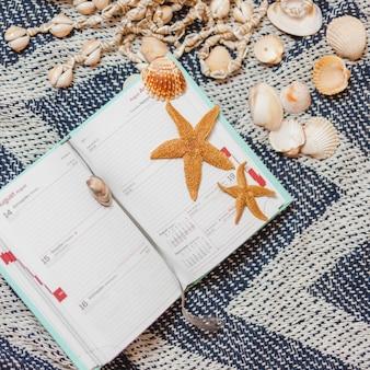 Lindo calendário aberto com conchas e estrelas-do-mar