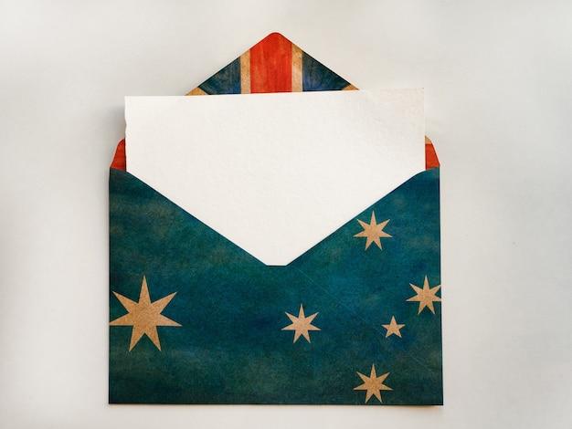 Lindo cartão com a imagem da bandeira australiana. close-up, vista de cima. conceito de férias.