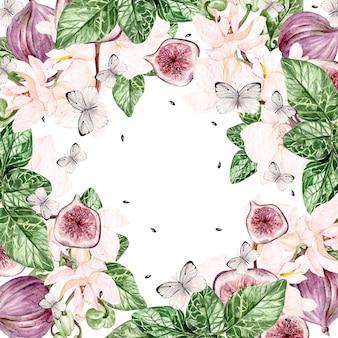 Lindo cartão em aquarela brilhante com flores da orquídea e frutos de figo, borboletas. ilustração