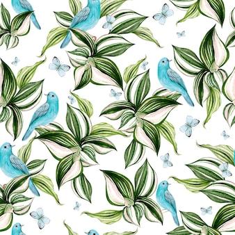 Lindo cartão em aquarela com flores de orquídea e moldura de pássaro azul em fundo branco
