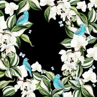 Lindo cartão em aquarela com flores de orquídea e moldura de pássaro azul em fundo preto