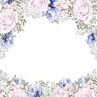 Lindo cartão em aquarela com rosas e flores de íris
