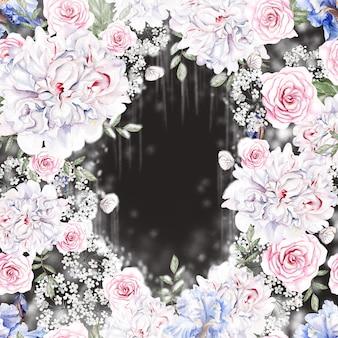 Lindo cartão em aquarela com rosas e flores de íris.