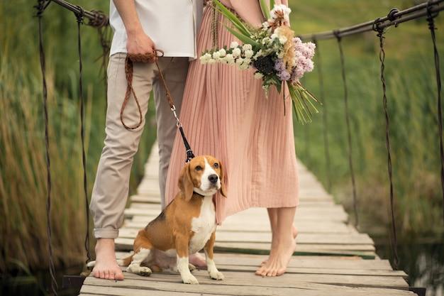 Lindo casal andando com cachorro na ponte