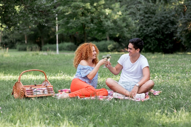 Lindo casal brindando enquanto está sentado em um cobertor