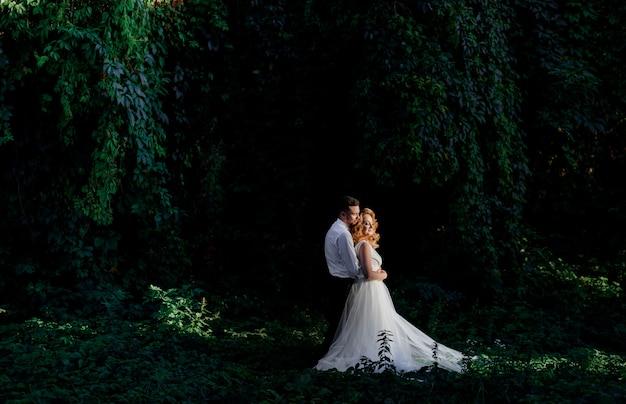 Lindo casal de noivos apaixonados está de pé cercado com hera verde ao ar livre, abraçando