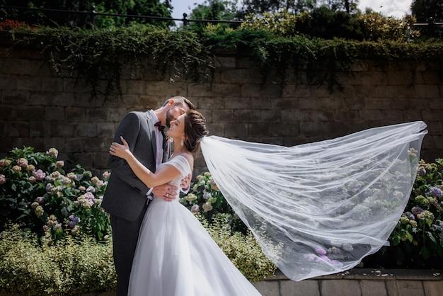 Lindo casal de noivos está beijando no jardim cheio de flores macias no dia ensolarado