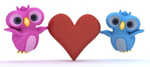 Lindo casal de pássaros com coração vermelho
