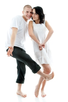 Lindo casal em branco