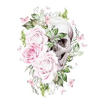 Lindo crânio em aquarela com flores de peônia e rosas. ilustração