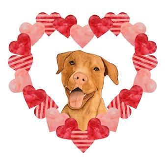 Lindo desenho aquarela em forma de coração e um adorável cachorrinho.