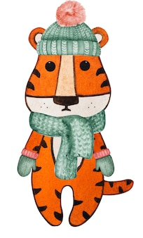 Lindo desenho em aquarela de um filhote de tigre