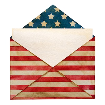 Lindo envelope postal pintado com as cores nacionais da bandeira americana.
