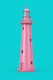 Lindo farol velho rosa duotone sobre um fundo azul. renderização 3d