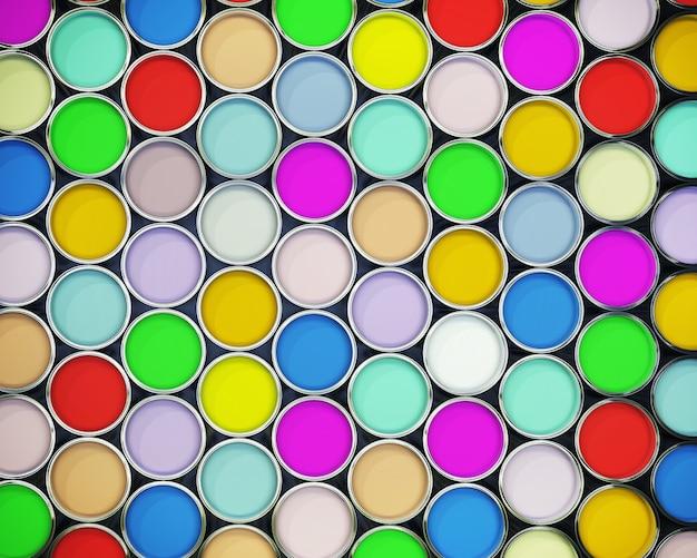 Lindo fundo 3d de latas de tinta coloridas