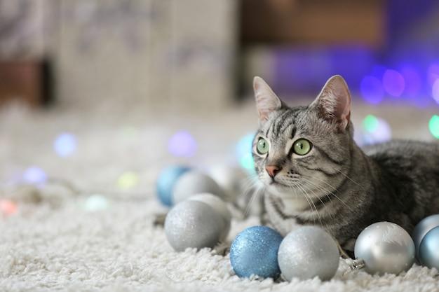 Lindo gato perto da árvore de natal com decoração
