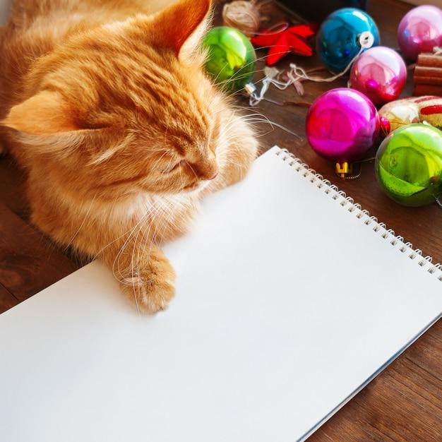 Lindo gato ruivo, deitado na página de papel claro entre bolas coloridas brilhantes de decorações de natal e ano novo.