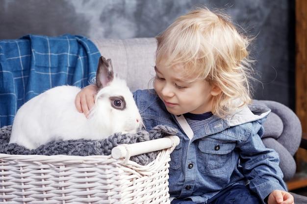 Lindo menino brinca com um coelho branco. o menino olha para um coelho