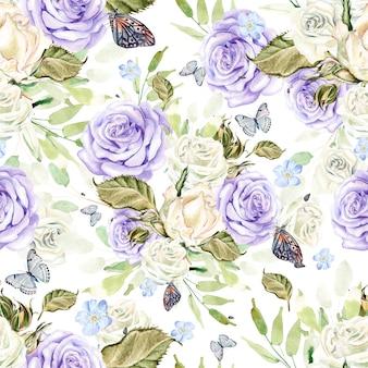 Lindo padrão de aquarela brilhante com flores e rosas