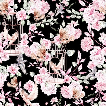 Lindo padrão de aquarela com pássaros, flores e gaiola de pássaros