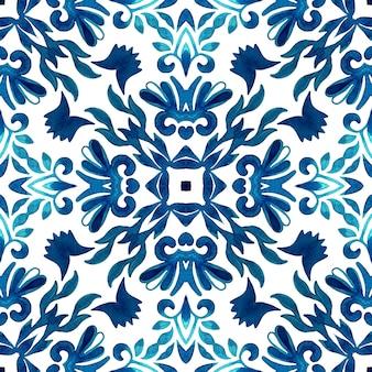Lindo padrão de decoração sem costura projeto geométrico de cerâmica azlejo azul e branco