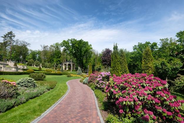 Lindo parque de verão com paisagismo