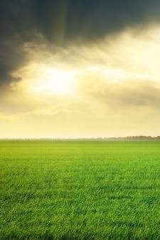 Lindo pôr do sol e nuvens