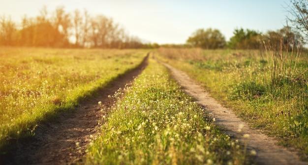Lindo pôr do sol. paisagem de primavera com estrada no campo