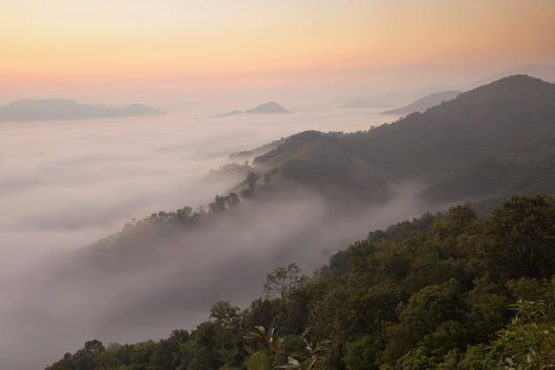 Lindo sol nas montanhas de manhã nublada, paisagem de nevoeiro. névoa do amanhecer