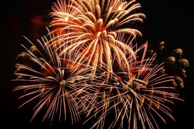 Lindos fogos de artifício festivos no céu para umas férias. saudação multicolorida brilhante sobre um fundo preto. lugar para texto.