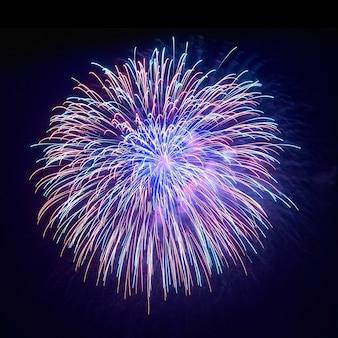 Lindos fogos de artifício no fundo do céu negro