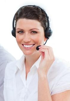 Lindos representantes do serviço ao cliente feminino