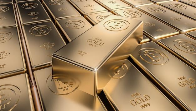 Lingote de bitcoin dourado