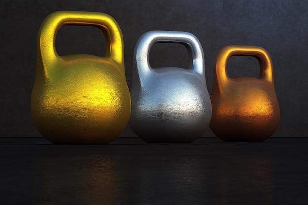 Lingote do ouro, da prata e do bronze no conceito da competição do negócio.