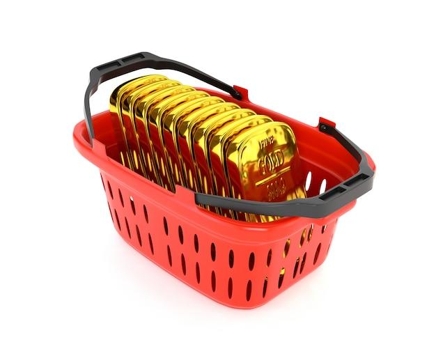 Lingote plástico vermelho da cesta e de ouro isolado em um fundo branco. reservas de ouro e moeda. ilustração 3d.