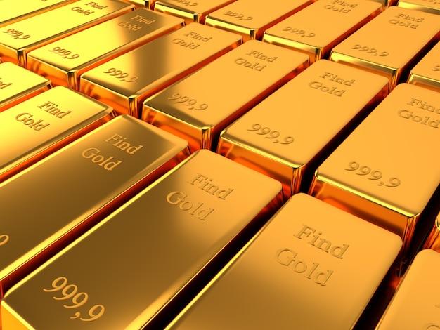 Lingotes de banco de ouro conceito de negócios e finanças