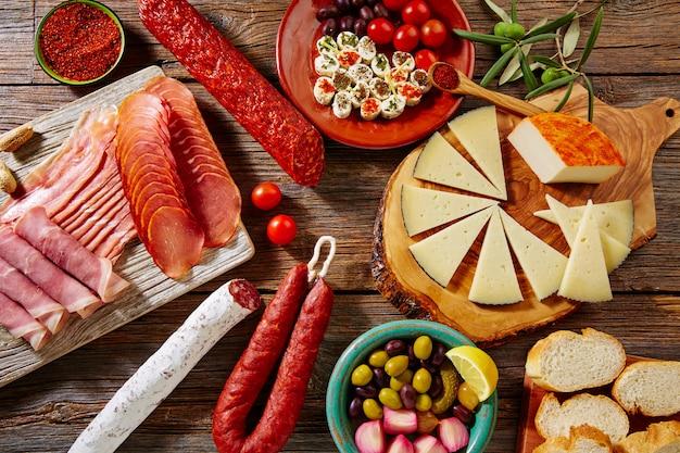 Linguiça tapas, de, espanha, jamon, lomo, queijo