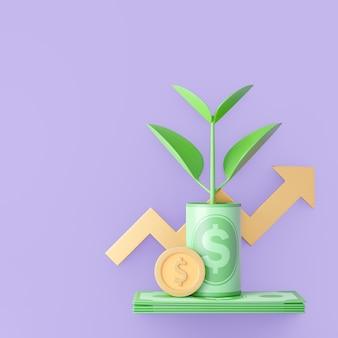 Linha 3d na nota de dinheiro com planta cresce e gráfico de seta. renderização de ilustração 3d.