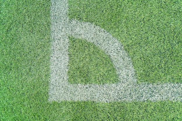 Linha branca em uma grama de campo de futebol