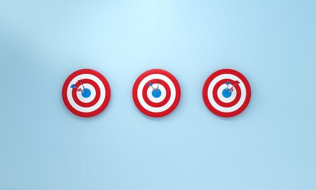 Linha dardo acertando o alvo sobre fundo azul. conceito de sucesso do bullseye. renderização 3d.