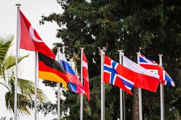 Linha de bandeiras nacionais em mastros com árvores atrás deles.