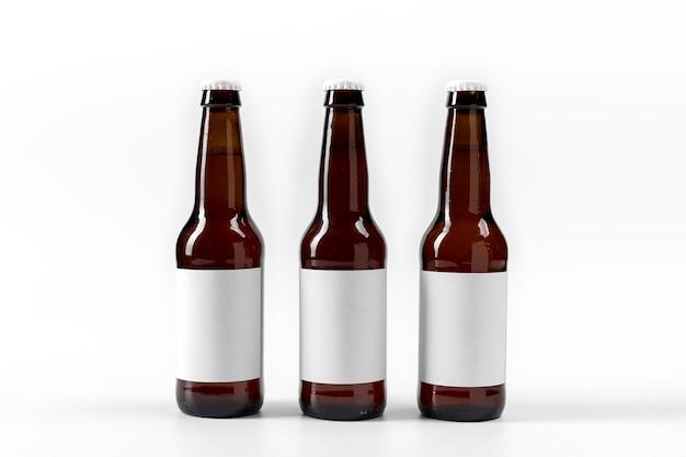 Linha de cervejas de vista frontal com rótulos em branco