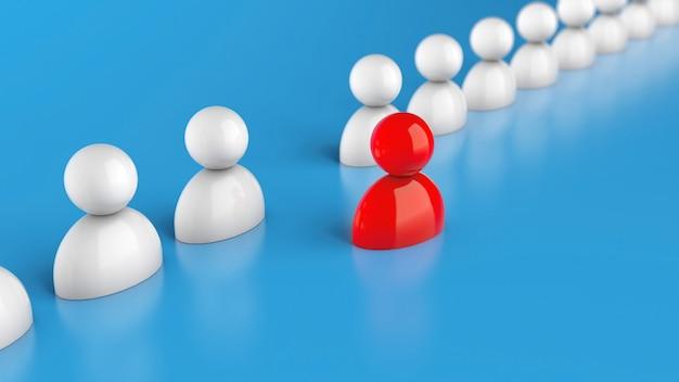 Linha de funcionários e um líder vermelho sobre um fundo azul. recrutamento de pessoal. renderização 3d.