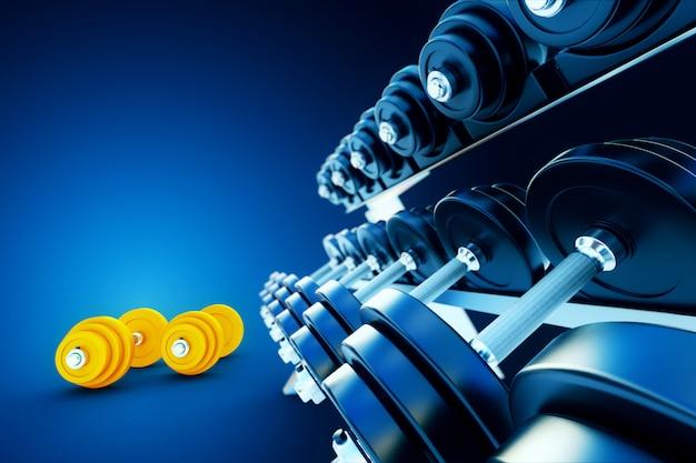 Linha de halteres de metal com halteres laranja em fundo azul