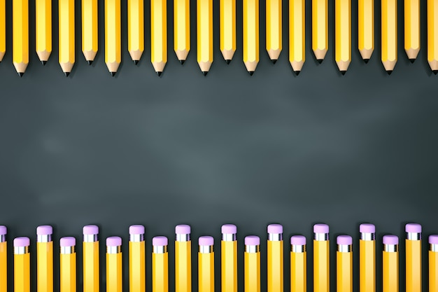 Linha de lápis na lousa verde. renderização 3d. copie o espaço