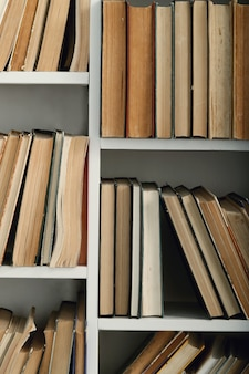 Linha de livros nas prateleiras, conceito de literatura